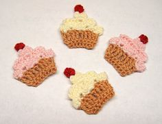 Crochet Cupcakes Applique by GoldenLucyCrafts on Etsy, $3.40
