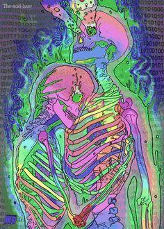 Trippy Skeletons colorful hippy trippy gif skeleton psychedelic 60s flashback