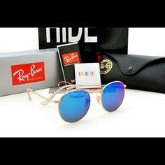 ab16353c9168 Ray-Ban 3447 Gold Frame Blue Flash RB3447 Size 50mm Unisex Comes with RB  case RB cleaning cloth RB paperwork Ray-Ban Accessories Sunglasses