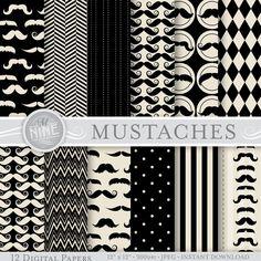 "VINTAGE BLACK MUSTACHE Prints Digital Paper Pattern Print, Instant Download, 12"" x 12"" Mustaches Paper Pack Boy Patterns Scrapbook Print"
