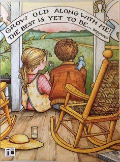 Handmade Fridge Magnet -Mary Engelbreit Artwork-Grow Old Along With Me