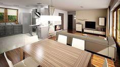 Projekt domu Ricardo XI 72,90 m² - koszt budowy - EXTRADOM Village House Design, Village Houses, Weekend House, My House, House Plans, Sweet Home, Kitchen Cabinets, Table, Studio