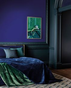 """Zoffany on Instagram: """"Lazuli is influenced by the lighter hues of Lapis Lazuli. Lazuli has a regal core, apply this in a small space to create a dramatic effect…"""" Jewel Tone Bedroom, Peacock Blue Bedroom, Bedroom Colors, Bedroom Decor, Jewel Tone Living Room Decor, Peacock Blue Paint, Bedroom Ideas, Master Bedroom, Bedroom Bed"""