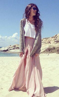#summer #fashion / slit maxi skirt