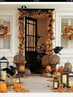 Classic Transitional Decor Halloween Through Thanksgiving Front Porch Ideas.  Creating Time With Halloween Decorating Ideas Front Door Creating Time With  ... Part 75
