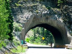 """U.S. Route 550is a spur ofU.S. Highway 50that runs fromBernalillo, New MexicotoMontrose, Coloradoin the western United States. The section fromSilvertontoOurayis frequently called the Million Dollar Highway.  This is the first tunnel encountered traveling south from Ouray. It has a posted hight of 13' 9""""."""