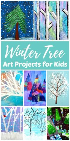 The best winter art projects for kids and teens make it easy to get creative on rainy days and snow days. This collection of winter painting ideas make winter art for kids fun! Inside you can find winter tree art, snowman art, winter animal art, snowflake Winter Art Projects, Easy Art Projects, Winter Crafts For Kids, Projects For Kids, Christmas Art Projects, Snowflakes Art, Winter Painting, Painting Art, Painting Trees