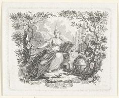 Simon Fokke | Personificatie van de beoefening van de kunsten, Simon Fokke, 1722 - 1784 | Een vrouw met een vlam boven haar hoofd houdt een opengeslagen boek en een schrijfveer vast. Naast haar een haan, wereldbol, lier en bazuin op de grond. Op de achtergrond staat een tafel met boeken, een inktpot en een bijenkorf.