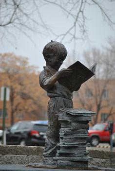 Bookworm By David L. Mckinley [statue of a boy with a stack of books who is standing and reading from a book] I Love Books, Good Books, Books To Read, My Books, Statue En Bronze, Arte Obscura, Reading Art, Book Sculpture, Paper Sculptures
