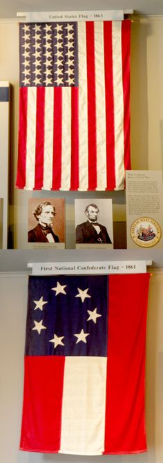 Union and Confederate flags of the Civil War hanging together at Harper's Ferry National Park in the museum. https://play.google.com/store/search?q=%22georgiann%20baldino%22&c=books&hl=en