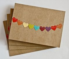This handmade stationery set includes four handmade kraft notecards with rainbow heart bunting flag sewn across. These cards are perfect for love notes, birthday wishes and thank you cards. - #cards #papercraft #handmade #craft #crafts #makes – Seen on Pintrest, loved and pinned by Craft-seller.com