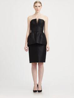 Martin Grant Black Strapless Peplum Dress