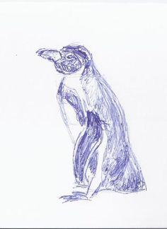 Vorbereitungen für die Malevents und Aquarellkurse im Rostocker Zoo | Skizze Pinguin seitlich (c) Frank Koebsch