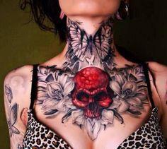 Tattoo Neck Chest Skull Flower Woman  - http://tattootodesign.com/tattoo-neck-chest-skull-flower-woman/  |  #Tattoo, #Tattooed, #Tattoos