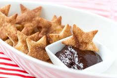 Cinnamon Sugar Stars with Chocolate Dipping Sauce, perfect for the Oscars + Award Season!