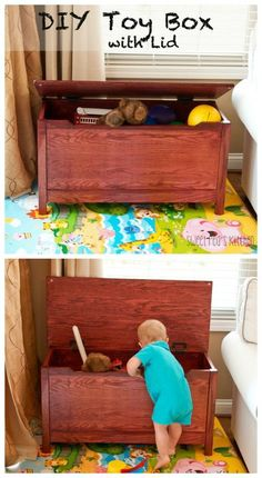 DIY Toy Box with Lid…free and easy plan to make this great toy box!