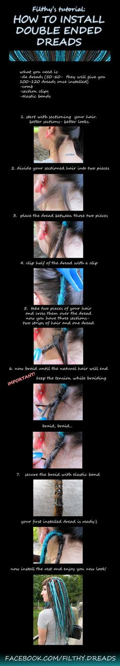 tutorial: how to install double ended dreads enjoy! www.facebook.com/filthy.dreads www.photoblog.pl/jade