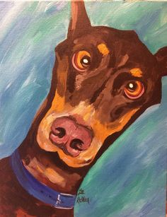 Doberman art print from original doberman canvas painting by Lee Haigler Keller HippieHoundUSA.etsy.com