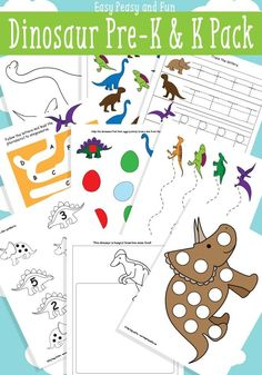 Dinosaur Printables for Preschool - Easy Peasy and Fun. DIY packet for dino books Dinosaur Theme Preschool, Dinosaur Printables, Preschool Printables, Preschool Themes, Preschool Crafts, Kindergarten Worksheets, Free Preschool, Dinosaur Activities For Preschool, Dinosaur Worksheets