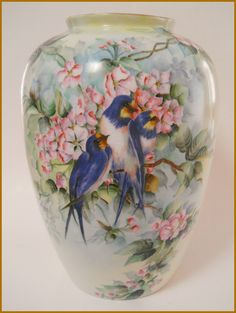 Antique B Co Limoges Porcelain Large Vase Hand Painted Blue Birds 12"