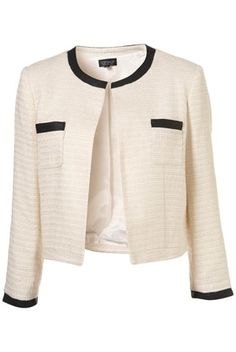 Ivory Trim Boucle Jacket - Jackets & Coats - Clothing - Topshop USA - StyleSays