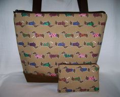 Stylish Tan Dachshunds With Sweaters Wiener Dog Handbag Purse Bag Bonus Change