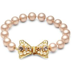 Miriam Haskell 8MM Faux Pearl Bow Bracelet (360 BRL) ❤ liked on Polyvore featuring jewelry, bracelets, fake jewelry, miriam haskell, bow jewelry, miriam haskell jewelry and bow bangle