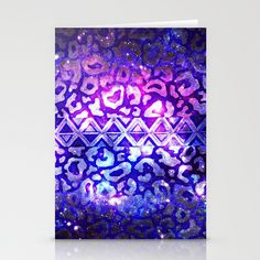 TRIBAL LEOPARD GALAXY Animal Print Aztec Native Pattern Geometric Purple Blue Ombre Space Galactic Stationery Cards by EbiEmporium - $12.00