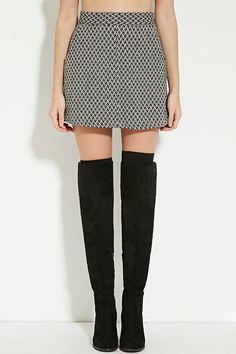 Chevron-Patterned Wool-Blend Skirt