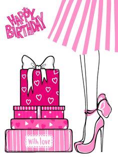 Happy Birthday Woman, Pink Happy Birthday, Happy Birthday Wishes Quotes, Happy Birthday Wishes Cards, Birthday Wishes And Images, Birthday Blessings, Birthday Greeting Cards, Happy Birthdays, Bday Cards