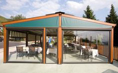 Gibus Group, leader in the production of awnings and pergolas for sun protection and energy saving Gazebo, Pergola, Outdoor Rooms, Outdoor Decor, Outdoor Structures, Restaurant, Country, Garden, Home Decor