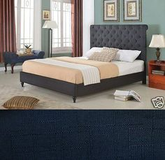 Beds and Bed Frames 175758: Black Fabric Rolled Top King Size Platform Bed Frame And Slats Modern Home Bedroom -> BUY IT NOW ONLY: $234.95 on eBay!