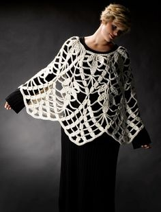 Undo last project and use yarn for this!  Lacy Crochet Poncho Inspiration! (diagram).