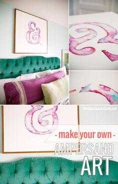diy ampersand art - the handmade homethe handmade home - Beautiful Diy Ideas Crafty Craft, Crafty Projects, Diy Projects To Try, Home Projects, Crafting, Diy Wall Art, Diy Art, Craft Corner, Handmade Home