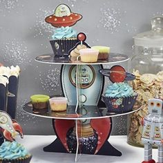 Ginger Ray Space Adventure Party Spaceship Cake Stand, Mixed