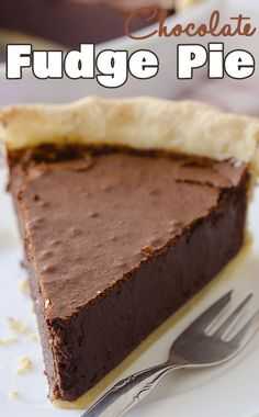 Chocolate Fudge Pie looks like such a great chocolate dessert recipe! It just looks so smooth and decadent.