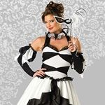 Halloween costume ideas 2014,includes a full-length gown with peplum, tulle petticoat, collar, glovettes with bell accents and eye mask. #childrencostume, #costume