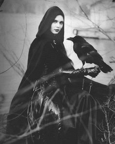 lady with her raven pet