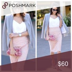 Express High Waist Midi Lace Skirt! Classy and Feminine. Blush Pink. Great for work or play. Waist is 13.5'across laying flat. 26' long. Express Skirts Midi