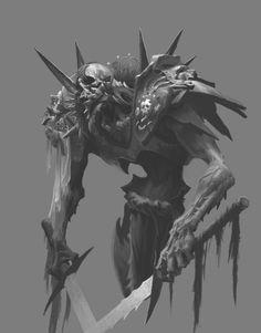 ArtStation - Dark factory - Undead warrior, by JiHun LeeMore concept art here. Monster Art, Fantasy Monster, Monster Design, Dark Creatures, Fantasy Creatures, Mythical Creatures, Creature Concept Art, Creature Design, Character Art