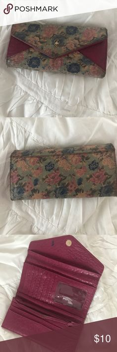 Cute pink floral wallet Bought in Spain. Some marks as shown. Accessories Key & Card Holders