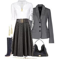 Miu Miu Polka-dot jacquard taffeta skirt, created by arjanadesign on Polyvore