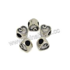 Metal beads, 925 sterling silver European bead in antique silver plating, Heart, Approx 9.5x7.8x9.4mm, Hole: Approx 4.6mm, 10 pieces per bag, Sold by bags