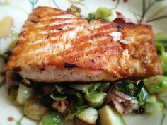 Salmon over Brussels Sprouts and Bacon: 4/23/13