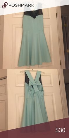 Coveted Tiffany blue dress Cute dress with mesh neckline and a bow detail back Dresses Mini