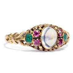 Datiert 1866: Antiker 625 Gold RING mit Mondstein Rubin & Smaragd Verlobungsring
