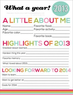 FREE New Year's Eve 2014 Resolutions Printable