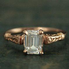 Rose Gold Engagement Ring - Rose Gold Ring - Emerald Cut Ring - Gold Engagement Ring - Octagon Cut Ring -Moissanite Ring Charles and Colvard