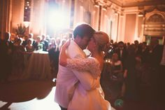 Soft glow in the Commonwealth Club with a spot light for the first dance