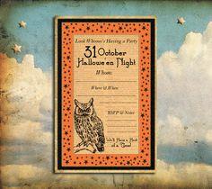 Vintage Inspired Owl Halloween Invitation. by LunaParkStationery